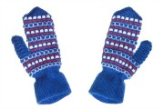 Blue patterned woollen mittens